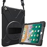 "ProCase Bumper iPad 9,7"" 2018 2017 Modelos Viejos, Carcasa Rugosa con Soporte Rotativo Asa de Mano Correa de Hombro, Funda Ro"