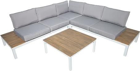 Riess Ambiente Garten Sitzgruppe Miami Lounge weiß Grau Gartenmöbel inkl. Kissen Bank und Tisch Loungemöbel Outdoor Wetterfest