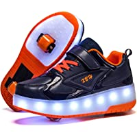 Unisex Kids LED USB Rechargeable Colorful Lights Trainer Roller Skates Shoes with Double Wheels Retractable Lightweight…