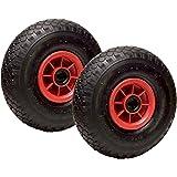LOT de 2 roues gonflables diable 260 x 85 alésage 20 mm (3.00-4) à rouleaux charge 270 Kg