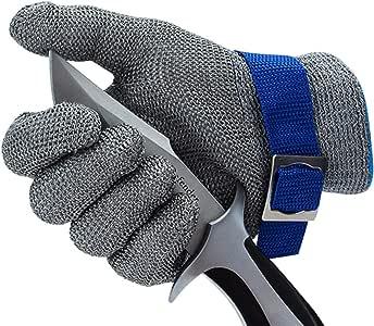 CPTDCL Level 9 Schnittbeständiger Handschuh Sicherheit Edelstahlgewebe Metalldrahthandschuh Langlebiger rostfreier Metzgerhandschuh Küchenschnittschutz Größe L.