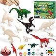 Hiveseen Dinosaurio Pintar Juguetes, 3D DIY Dinosaurio Figuras Pintar Manualidades Incluir Stegosaurus,Brachiosaurus,Styracos