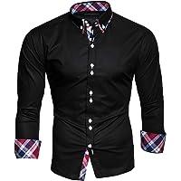 Kayhan Originale Uomo Camicia Slim Fit Facile Stiro Cotone Maniche Lungo S M L XL XXL 2XL -Modello Musteraermel