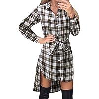 Style Dome Camicia Donna Maglie Donna Manica Lunga Camicia a Quadri Vestito Bluse Camicie Blusa Scollo V Casuale Taglie…
