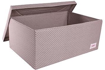 Minene Large Storage Box With Lid Grey With White Dots   Storage Box, Large  Fabric