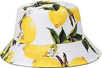 Pretyzoom, cappello estivo a secchiello double-face, con stampa limone, colore azzurro