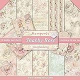 """Stamperia Bloc 10 feuilles 30.5x30.5/mm1 (12"""" x 12"""") - imprimés double faces Shabby Rose multicolore SBBL12"""