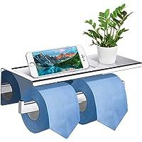 GEMITTO Porte Papier Toilette Mural Acier Inoxydable 304 Double Support Papier Rouleau avec Protection de Bord et Anti…