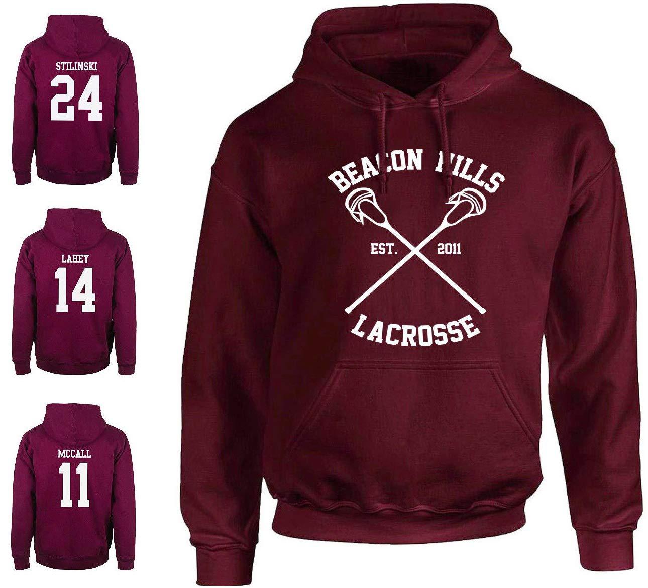 mimoma Felpa con Cappuccio della Squadra Lacrosse Beacon Hills 24 Stilinski, 14 Lahey, 11 McCall