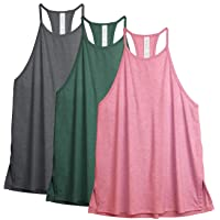 icyzone Women's 3 Pack Workout Tank Tops Halter Neck Vest Tops Running Muscle Tank