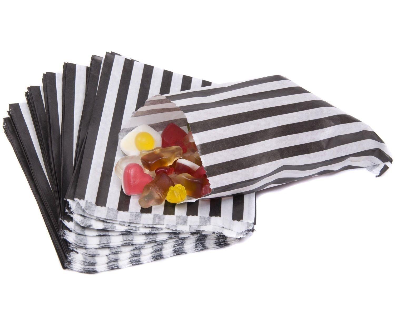 sacchetti di carta a righe e pois 12,7x 17,8cm partito dolcetti favorisce regali, Black, 100 bors