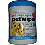 Petkin Pet Wipes/Grooming Wipes for Dogs and Cats Mega Pack, Veterinarian Tested 200 Wipes