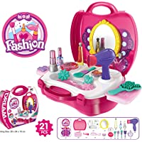 Zest 4 Toyz Pretend Play Make Up Case and Cosmetic Set, Durable Beauty Kit Hair Salon with 21 Pcs Makeup Accessories for Children Girls (Hair Salon)-Pink