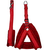 Belim's Nylon Dog Harness & Leash Set with Fur 0.75 Inch Small Red
