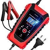 AOKBON Chargeur de Batterie Intelligent 6A 6V/12V/24V avec Écran LCD Chargeur Moto Portable Rapide Multiples Modes de Charge