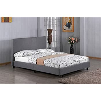Kelsey Stores 3ft, 4ft, 4ft6, 5ft Fusion Grey Linen Fabric Bed Double Single  King Size Bed (3Ft Single Bed)