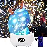DX Kindernachtlichtprojector Starlight Baby Muziekdoos Bluetooth Luidspreker,360 ° Rotatie Babykamer Verjaardagscadeaus,Slaap