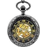 Stayoung Steampunk Antiguo Negro Números Romanos Cuerda Manual Reloj de Bolsillo Mecánico Colgante Cadena Lupa Caballero Negr