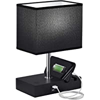 Touch Control USB Table Lamp, Seealle Dimmable Black USB Bedroom Nightstand Touch Lamp with 2 Fast Charging USB Ports…