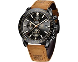 Mens Watches BY BENYAR Chronograph Analog Quartz Movement Leather Band Stylish Sports Designer Wrist Watch 30M Waterproof Ele