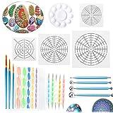Peinture Mandala Kit, 25pcs Outils de Pointage Pâte Fimo , Galet Dotting Tools Stylet à bille Polymères Sculpture Modelage,Pa