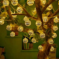 RaajaOutlets Metal Ball with 20 LED Hanging Lantern String Lights(Golden)