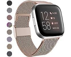 Funbiz Compatible avec Fitbit Versa Bracelet/Fitbit Versa 2 Bracelet, Metal Mesh Inoxydable Réglable Bande avec Verrouillage