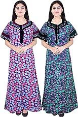 Mudrika Womens 100% Pure Cotton Nighty (Pack of 2 Pcs)