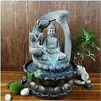 Tavolino della Decorazione Resina Zen Lotus Buddha Statue Fontana LED FengShui Figurine Home Office Meditazione Spazio Ornamenti del Giardino (Color : EU Plug LED 220V)