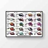 LJW Póster impreso con autógrafo de F1 Formula one Drivers 2020