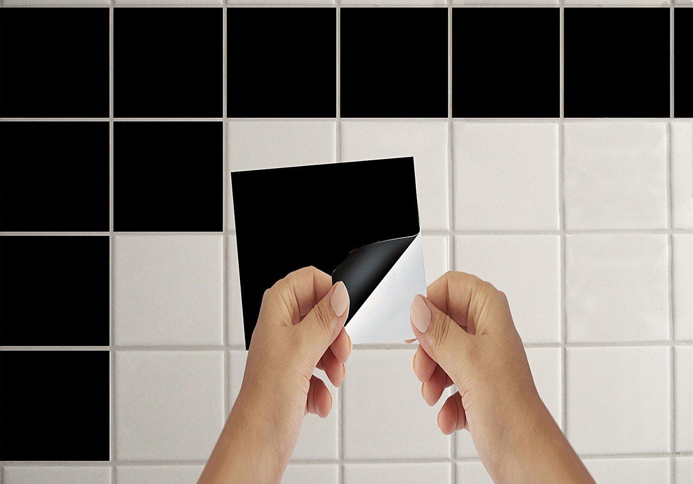 Lorcoo 50 x adesivi per piastrelle 15 2 x 15 2 cm quadrati bagno