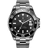 Mens orologi, TEVISE T801 orologi meccanici uomini, orologi da polso luminosi per gli uomini in vendita, impermeabile orologio di lusso vestito automatico con fascia in acciaio - Banda nera