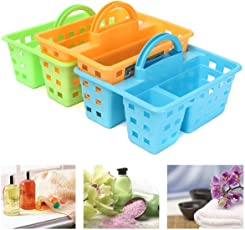 Krevia Professional Cleaning 3 Compartment Caddy Plastic Storage Basket Carry for Home Kitchen Bathroom-1pc(Multi Color)