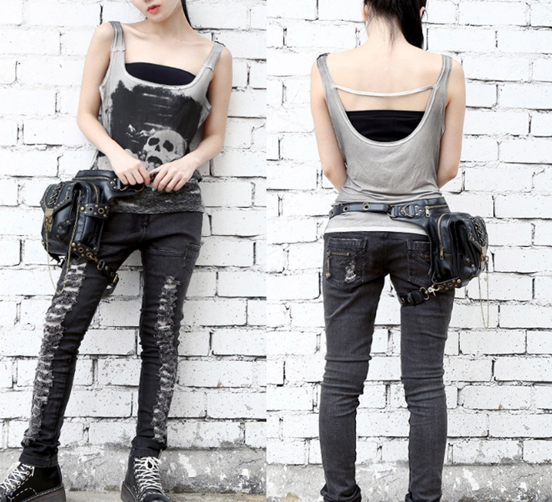 71j%2B3 nGaaL - FiveloveTwo® Men Women Multi-purpose Tactical Drop Leg Arm Bag Pack Hip Belt Waist Messenger Shoulder Fanny Packs Steampunk Bag Wallet Purse Pouch Bag