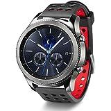 Greatfine Watch 22MM Armband Uhrenarmband Strap für Samsung Gear S3 frontier / S3 Classic / Gear 2 R380 Neo R381 Live R382 / Motorola Moto 360 (2. Generation) 46mm /Pebble Time / LG G Watch W100/W110/Urbane (Black Red)