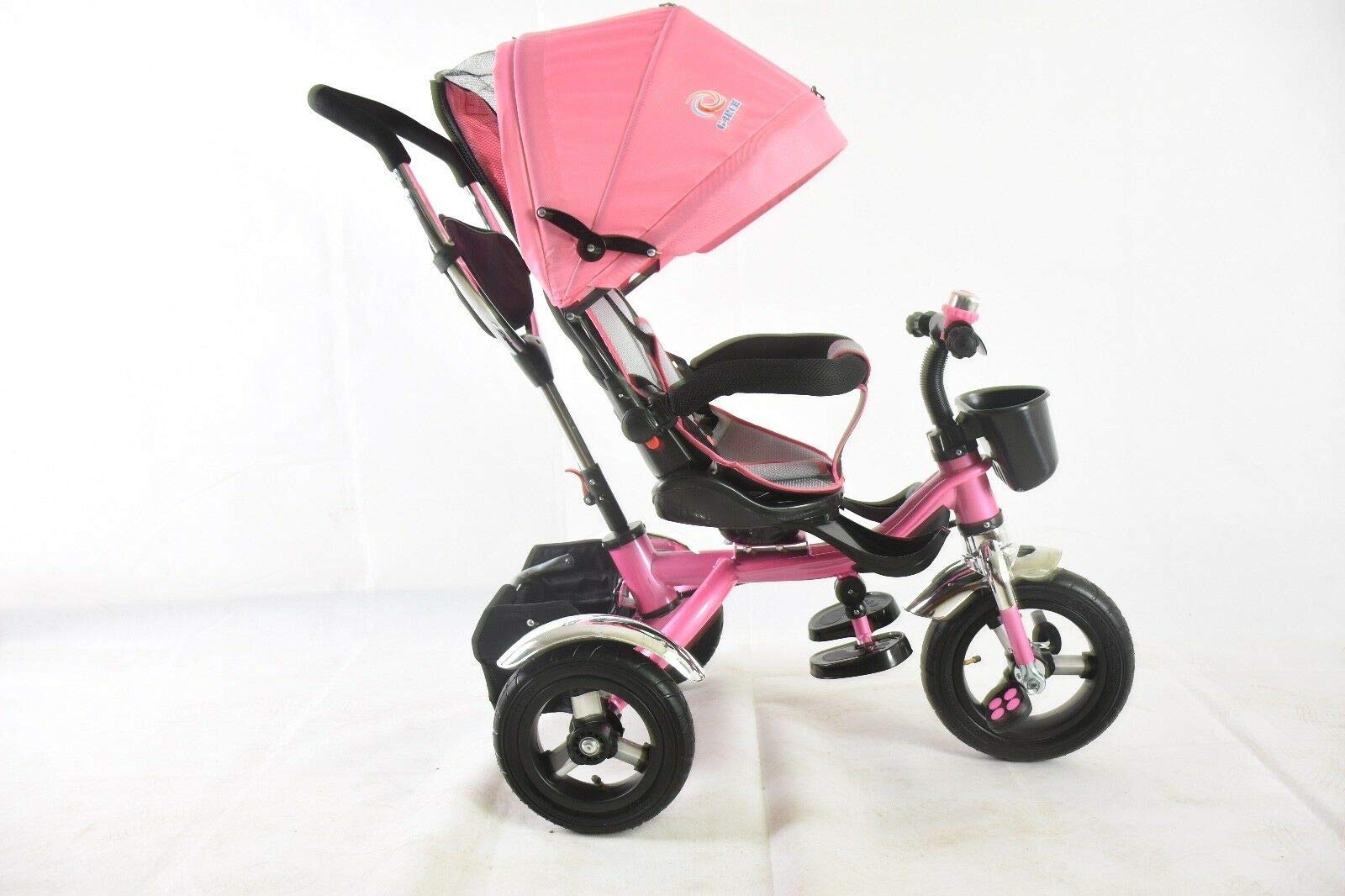 Trike Tricycle Stroller Buggy Wheel Ride Push Rain Cover Rubber Tyres 4 in 1 System (Pink) Generic Removable Leg rest for kids to feet up. Adjustable and removable parent handle or control bar. Plastic seat with removable padded cushion and lap seat belt to keep your child safe. 4