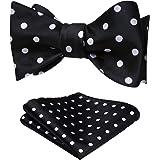 HISDERN Bow Tie Self Tie Bow Tie Pocket Square Polka Dot Bow Ties for Men Handkerchief Bowtie Set for Tuxedo Wedding Party Pr
