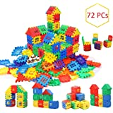 AdiChai Multi Colored 72 Pcs Mega Jumbo Happy Home House Building Blocks with Attractive Windows and Smooth Rounded…