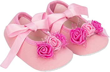 Daizy Baby Shoes/Booties in Pink Ribbon and Three Rose Flowers for Cute Baby Girl, First Walkers Solid Pattern Shading Soft Sole Baby Toddler Prewalkers Shoe (0-12 Months) 64
