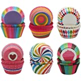 600pcs Cupcake Baking Cases Muffin Cases Paper Wrappers Rainbow Baking Cups 6 Styles Cupcake Liners for Wedding Birthday Party