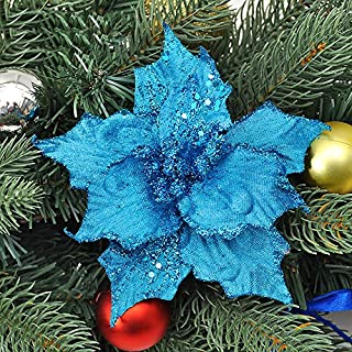 Asdomo 10Pcs Pendant Christmas Tree Decoration 13cm Glitter Colorful Flowers With Flocking for Christmas Ornaments Xmas Wedding Party Decors Blue