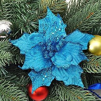asdomo 10pcs colgante árbol de Navidad decoración 13cm brillante colorido flores con nieve para Navidad adornos de Navidad boda Decors, seda sintética, azul, 10*13cm