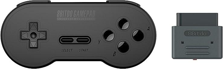 YIKESHU 8bitdo schwarz Farbe der SN30 Retro Controller mit Empfänger für Original Super Nintendo (schwarz Set)