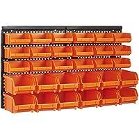 Queta 30 Pièces Casiers de Rangement avec 2 Panneaux Muraux, Matériau en ABS, Etagere de Rangement Garage Atelier