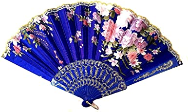 AUM Lace Trim Colorful Flower Floral Pattern Hand Held Folding Plastic Japanese Silk Hand Fan (Dark Blue-L).100% Hand Crafted, Gift Fan for Girls Women Wedding Favor Party Decoration. Buy 100% Original Imported Hand Fan from Aum Impex Only