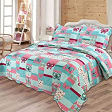 Quilting Tree : Butterfly Theme Quilted Bedspread Blanket for Kids with Pillowcase Set - Queen Size