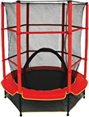 Toy Park Kids Jumping Trampoline with Metal Springs, Safety Net & Padded Cover for Indoor/Outdoor, 55 inch (Red)