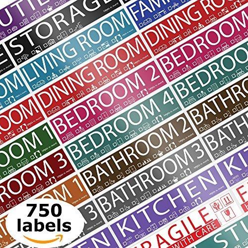 750Home Moving Etiketten. 4Schlafzimmer House. 50Etiketten pro Zimmer, 15Farbkodierte Rollen. Fragile Label für Bewegung Boxen, Supplies, Kleiderschrank Boxen, Wohnungs Aufkleber, Bett, Bad