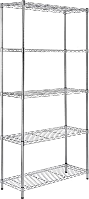 AmazonBasics Height Adjustable 5-Shelves Heavy Duty Rack - Chrome