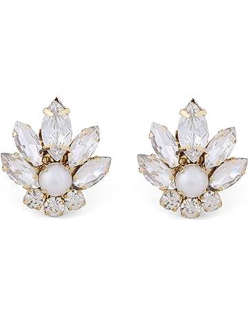 290b4f772b944 Navyataa Silver and Pearl Floral Bridal Rhinestone Shoe Clip